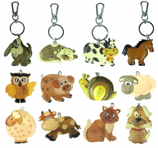 5001 : Animal Keyrings - Large - 15+ Designs (Pack Size 36) Price Breaks Available