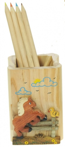 Pencil Holder Boxes (& Coloured Pencils) - Horse  (Pack Size 10)