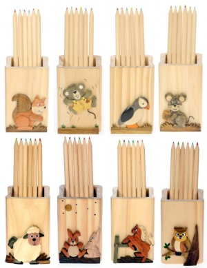 5202: Animal Pencil Cases with Colour Pencils Mix (Pack Size 12) Price Breaks Available
