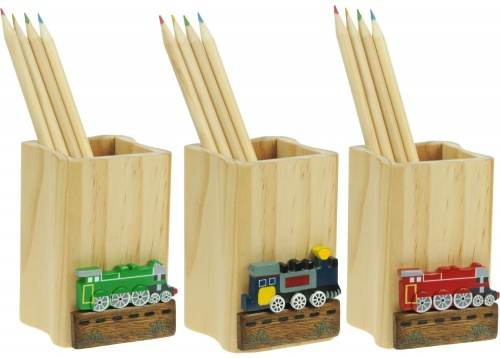 5202-TR: Steam Train Pencil Pots with Colour Pencils (Pack Size 12) Price Breaks Available