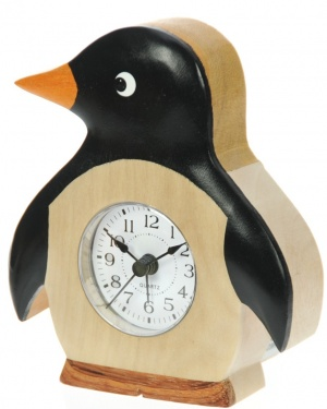 5208PN: Alarm Clock - Penguin - Handcrafted Wood (Pack Size 6)