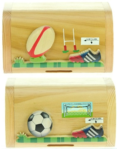 5215-FR: Football Rugby Money Boxes (Hidden Lock) (Pack Size 6) Price Breaks Available