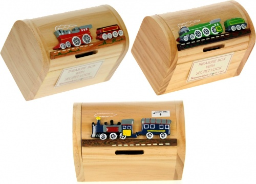 Money Box Treasure Chests - Steam Trains  (Pack Size 24)