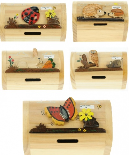 Money Box Treasure Chests - Wildlife - Mix Set  (Pack Size 10)