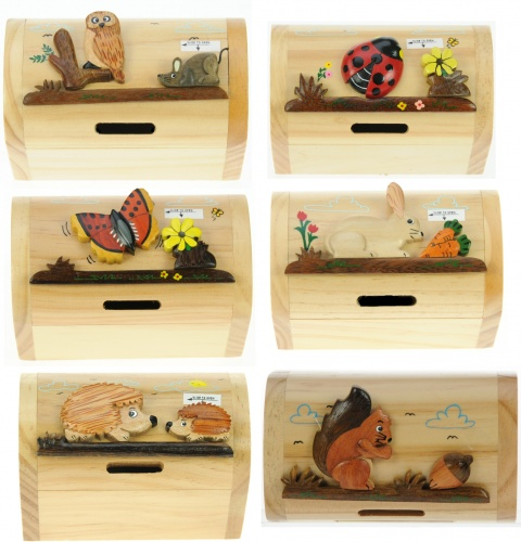 5215W: Wildlife Money Box Treasure Chests (Pack Size 12) Price Breaks Available