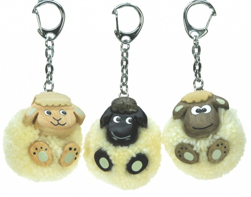 Keyrings - Pom pom Sheep  (Pack Size 60)