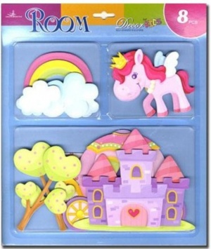 H8: Wall Stickers - 3-D Designs for Girls  (Pack Size 12)