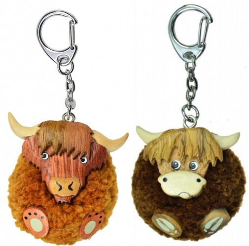 5001P-HC : Highland Cow Pom Pom Keyrings (Pack Size 36) Price Breaks Available