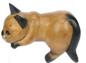 Hand Carved Wood - Cat Lying Down  (Pack Size 5)