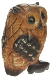 YO62 - Hand Carved Wood - Owl  (Pack Size 4)