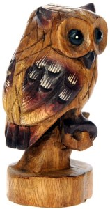 Hand Carved Wood - Owl on Perch  (Pack Size 3)