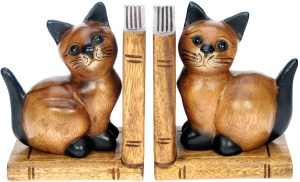Hand Carved Bookends - Cat  (Pack Size 3)
