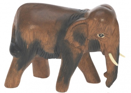 YO55 - Hand Carved Wood - Elephant  (Small)  (Pack Size 5)