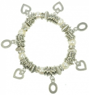 Bracelets - Hearts & Pearls  (Pack Size 10)