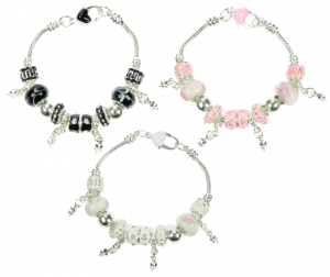 Bracelets - Beads with Heart Clip  (Pack Size 30) - 40% OFF