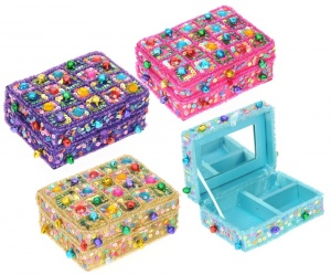 NS04 : Jewellery Boxes with Mirror and sequins  (Pack Size 12)