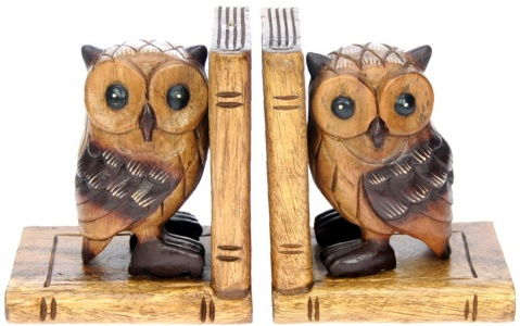 YO43 - Bookends - Hand Carved - Owl  (Pack Size 3)