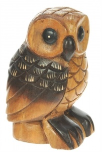 Hand Carved Wood - Owl (Large)  (Pack Size 3)