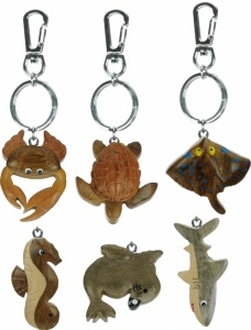 5001M: Medium Keyrings - Sealife - 6 Designs - Handcrafted Wood (Pack Size 60)