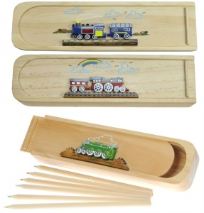 5201-TR: Steam Train Pencil Cases with Colour Pencils Mix  (Pack Size 12) Price Breaks Available