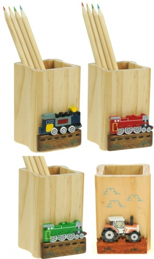 5202T: Transport -Trains & Tractors Pencil Pots & Colour Pencils (Pack Size 12) Price Breaks Available