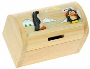 5215-PN: Penguin Money Boxes (Hidden Lock) (Pack Size 3) Price Breaks Available