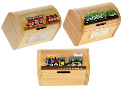 5215-TR : Steam Train Money Box Treasure Chests (Pack Size 12) Price Breaks Available