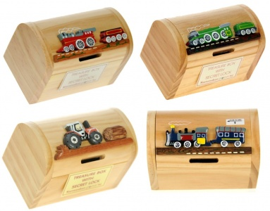 5215T: Trains & Tractor Money Box Treasure Chests (Pack Size 12) Price Breaks Available