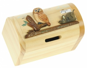 5215-Owl: Owl Money Boxes (Hidden Lock) (Pack Size 3) Price Breaks Available