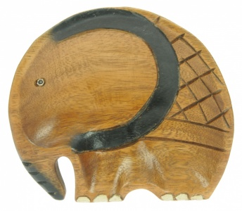 EL-BL - Carved Elephant Bowl/Plate (18x16cm) (Pack Size 6)
