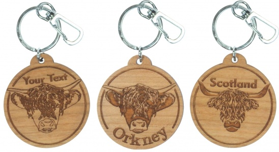 5001B-HC: Bespoke Highland Cow Keyrings - Your Text (Pack Size 36) Price Breaks Available