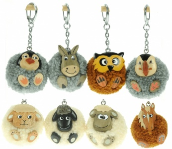 Keyrings - Pom pom mix  (Pack Size 60)