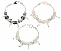Bracelets - Beads with Heart Clip - 3 Colours  (Pack Size 24) NOW LIMITED STOCK