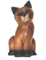 Hand Carved Wood - Sitting Cat (No. 4)  (Pack Size 5)