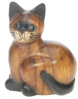 Hand Carved Sitting Cat (Pack Size 10) - 50% OFF
