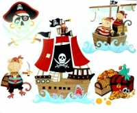 Wall Stickers � Pirate Ship & Treasure Chest (Pack Size 10)