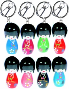 Japanese Kokeshi Doll Keyrings  (Pack Size 60)